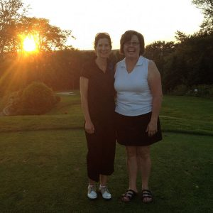 Post-game with Patti Dow(R) , our fun and free-spirited organizer of Ladies Night golf